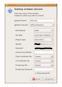 "Select ""WPA2-Enterprise"" for Wireless Security and fill in the fields accordingly"